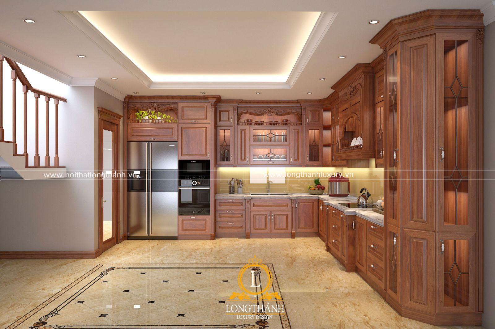 Tủ bếp kết hợp tủ rượu với chất liệu gỗ Gõ đỏ