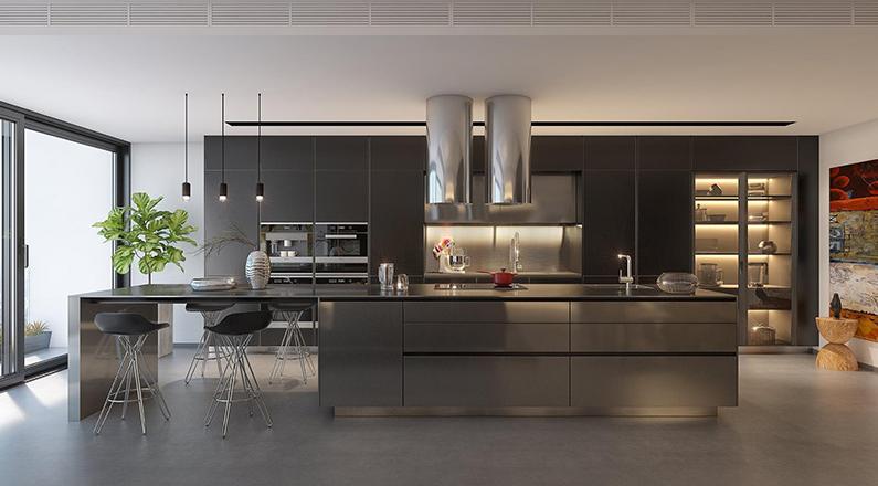 Phòng bếp màu tối sang trọng, hiện đại
