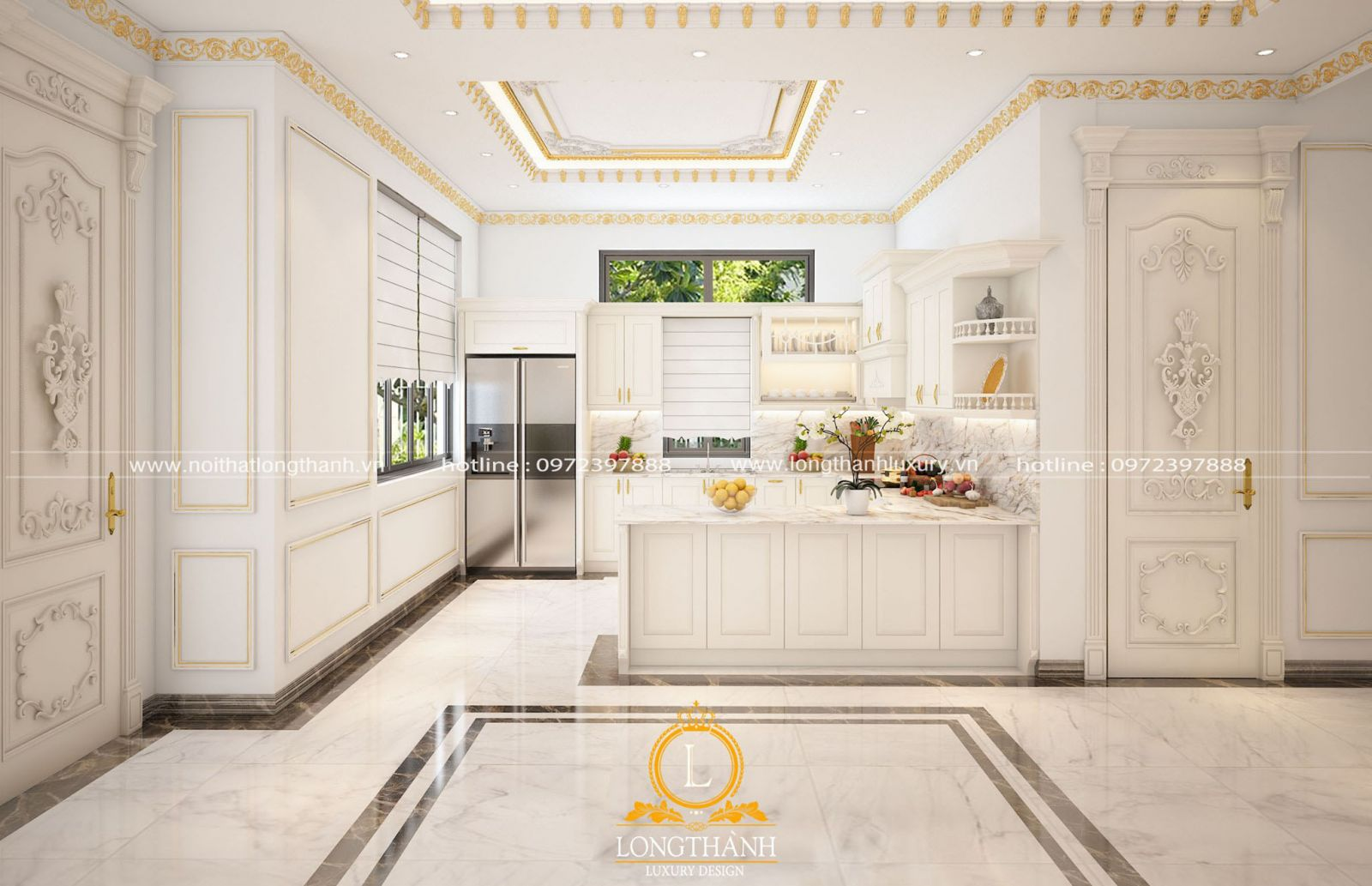 tủ bếp màu trắng giúp không gian phòng bếp thêm thoáng mát