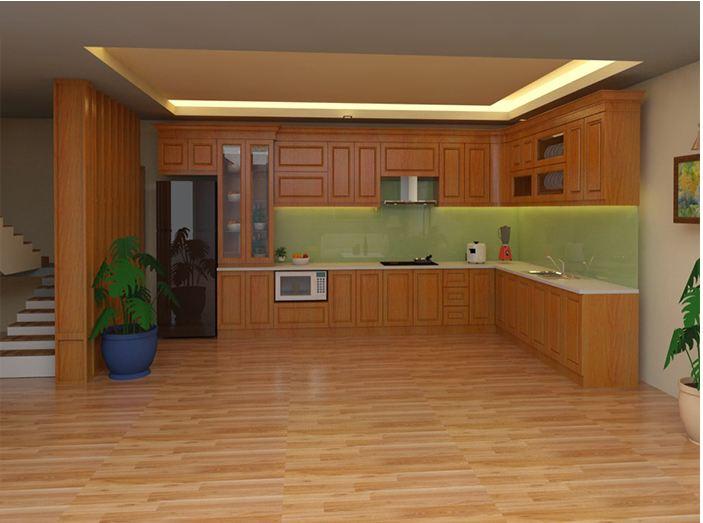 Mẫu tủ bếp gỗ acrylic hiện đại cho nhà biệt thự rộng