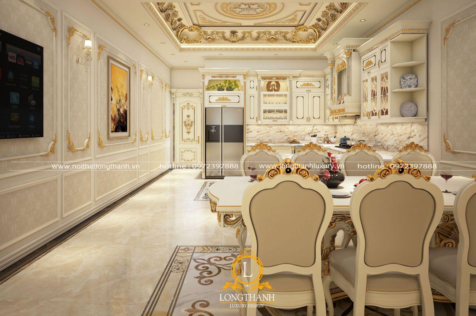 Tủ bếp tân cổ điển sơn trắng mạ vàng cho người mệnh Thủy