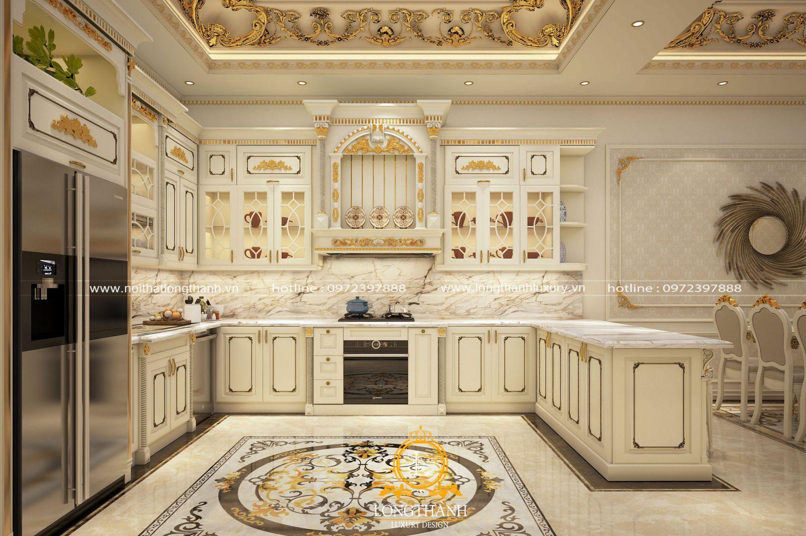 Mẫu tủ bếp gỗ tự nhiên sơn trắng dát vàng