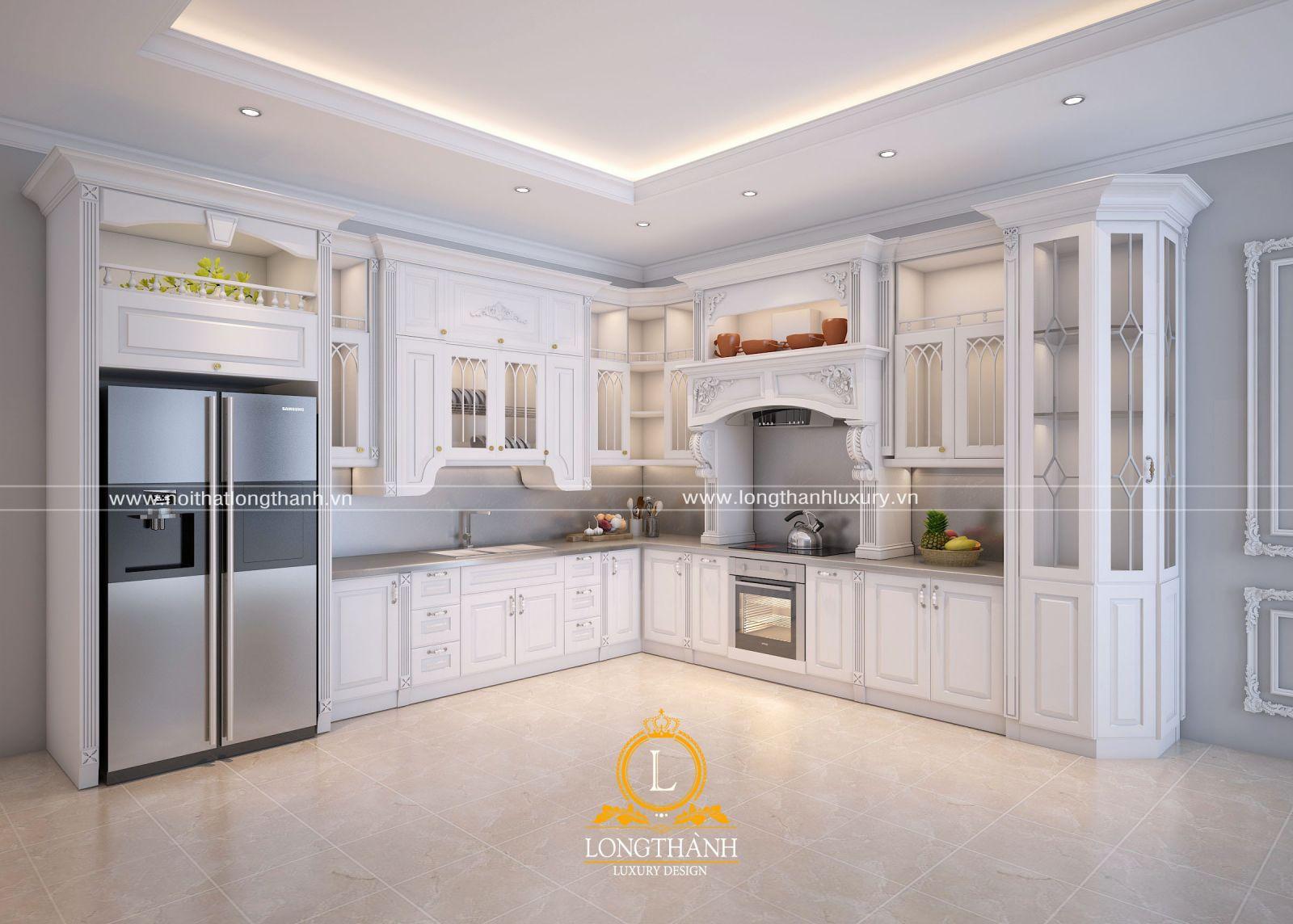Màu trắng sẽ khiến không gian phòng bếp thêm rộng rãi, sáng sủa hơn