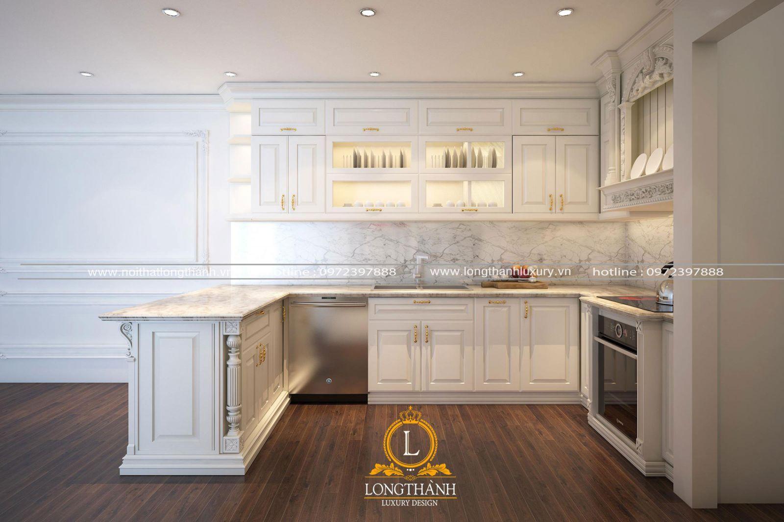 Thiết kế tủ bếp hiện đại sơn trắng cho không gian nhà phố