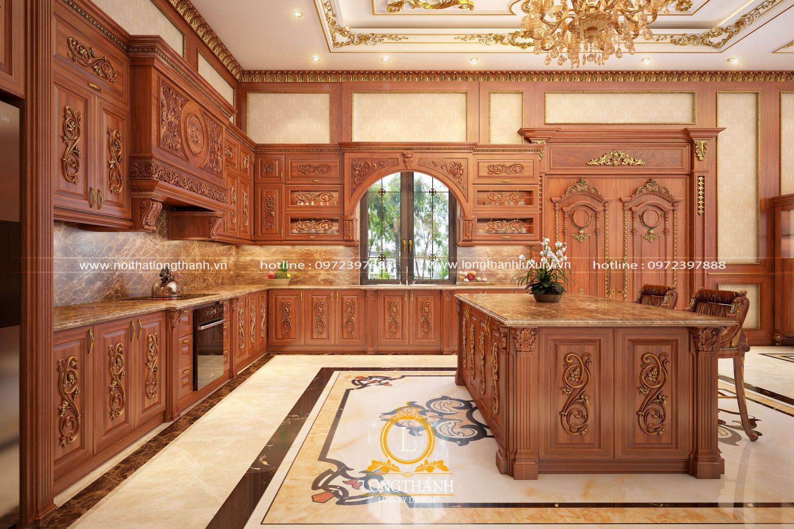 Mẫu thiết kế tủ bếp tân cổ điển gỗ tự nhiên cao cấp mạ vàng cho biệt thự song lập