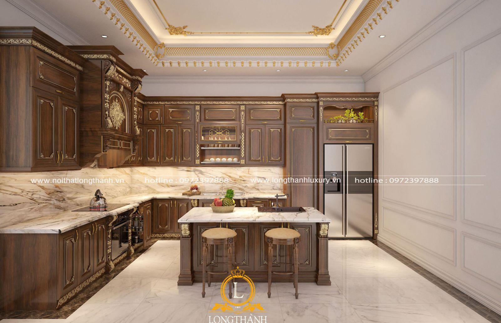 Tủ bếp tân cổ điển được thiết kế phù hợp mọi không gian