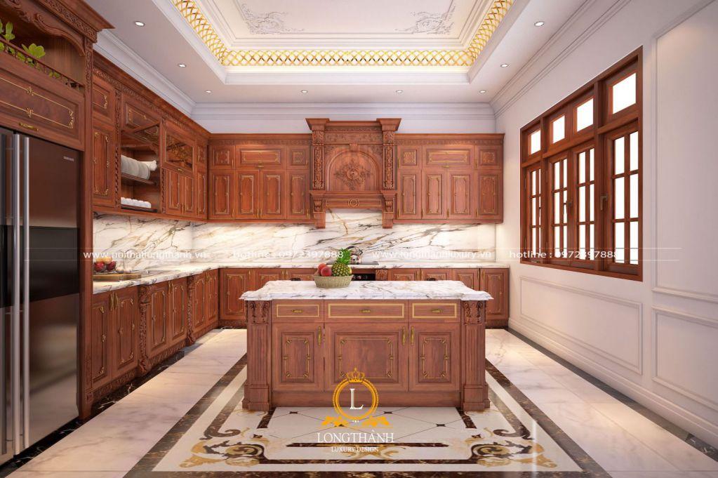 Tủ bếp tân cổ điển gỗ gõ đỏ chữ L cho nhà phố