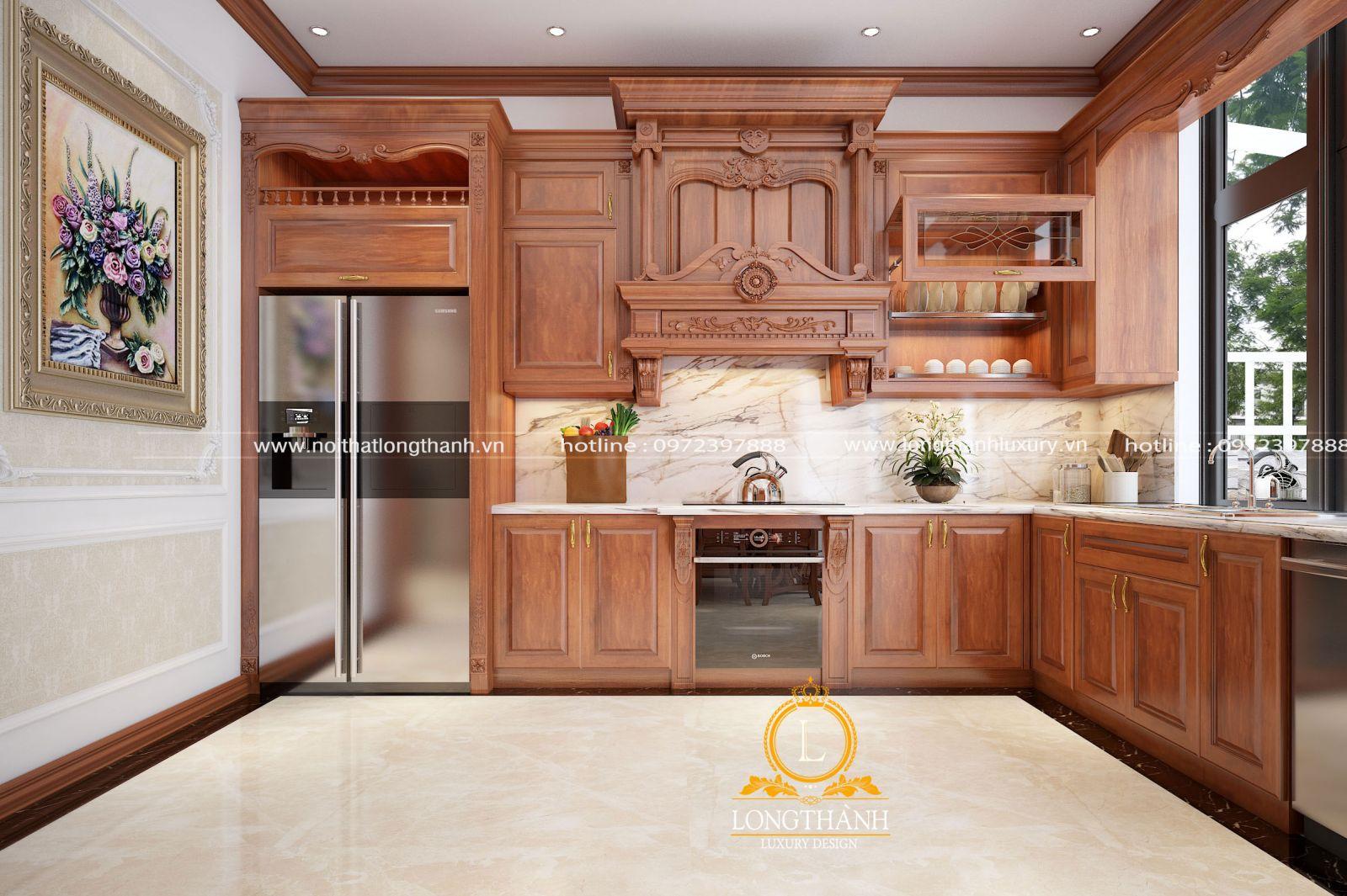 Tủ bếp tân cổ điển gỗ Gõ đỏ cho phòng bếp nhà phố
