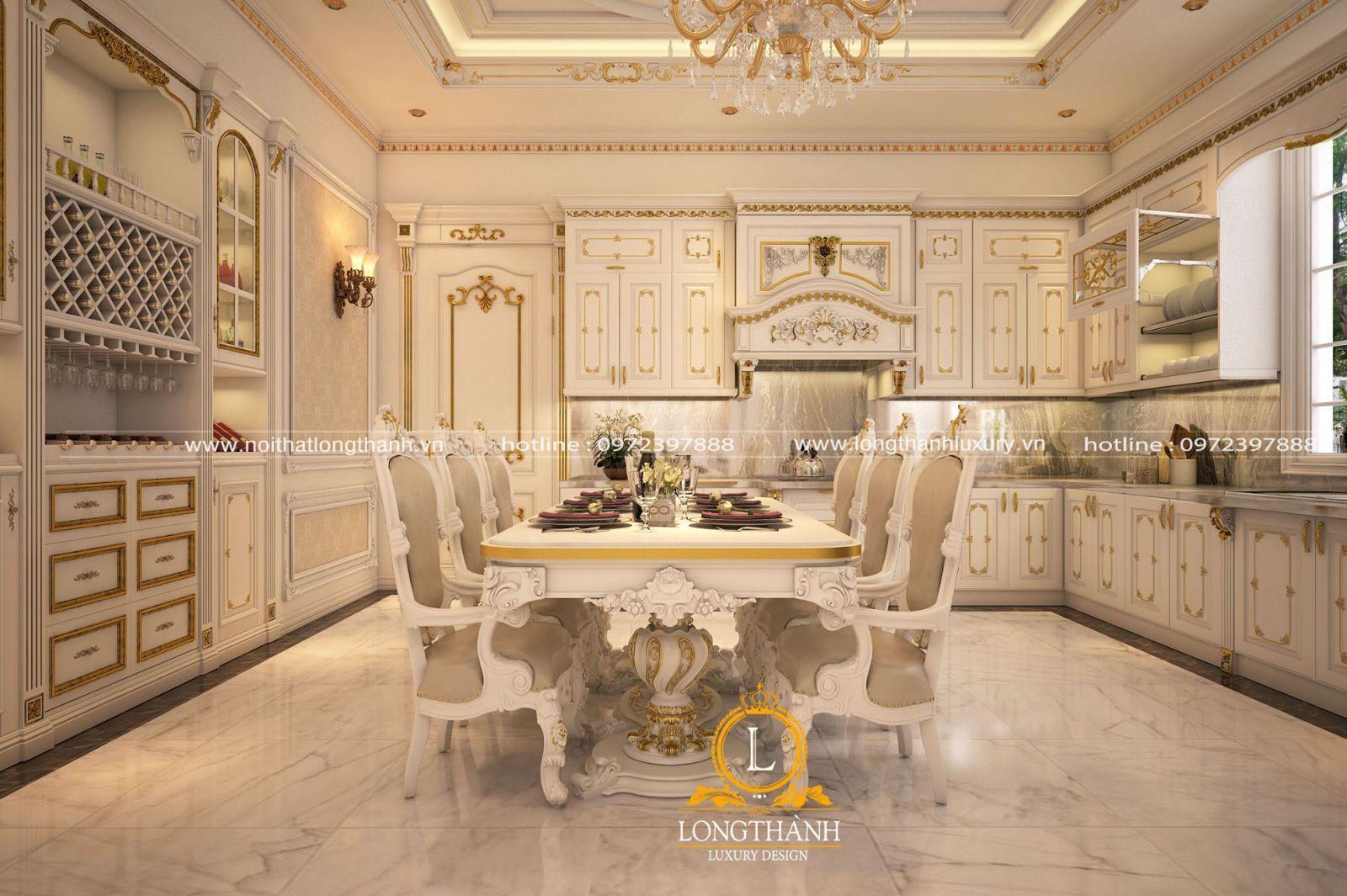 Thiết kế tủ bếp gỗ Lát sơn trắng đồng bộ với tổng thể nội thất trong nhà
