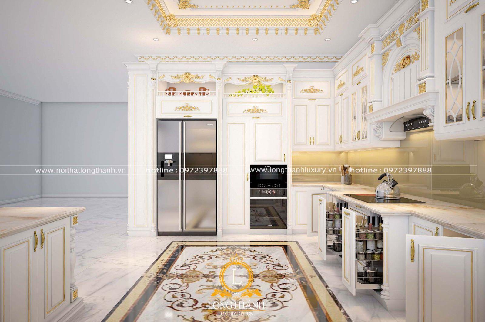 Mẫu tủ bếp sơn trắng phù hợp với tone màu của cả ngôi nhà