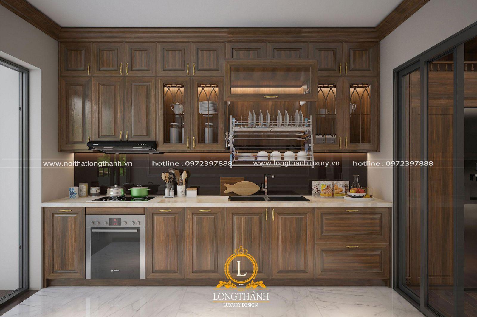 Thiết kế tủ bếp tân cổ điển chữ I phù hợp với chung cư có diện tích nhỏ