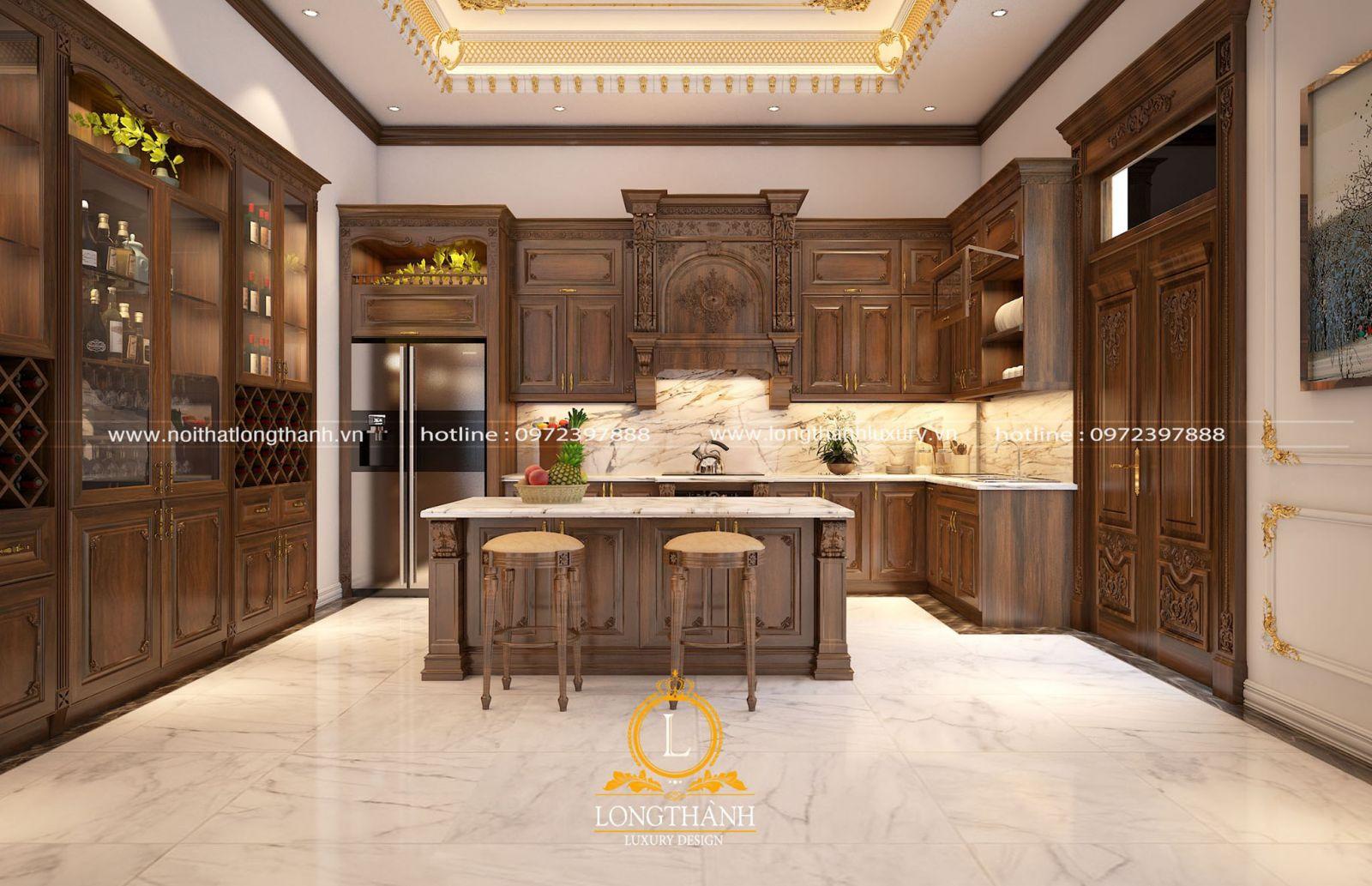Mẫu tủ bếp tân cổ điển sơn nâu socola kết hợp bàn đảo vừa tiện lợi vừa sang trọng