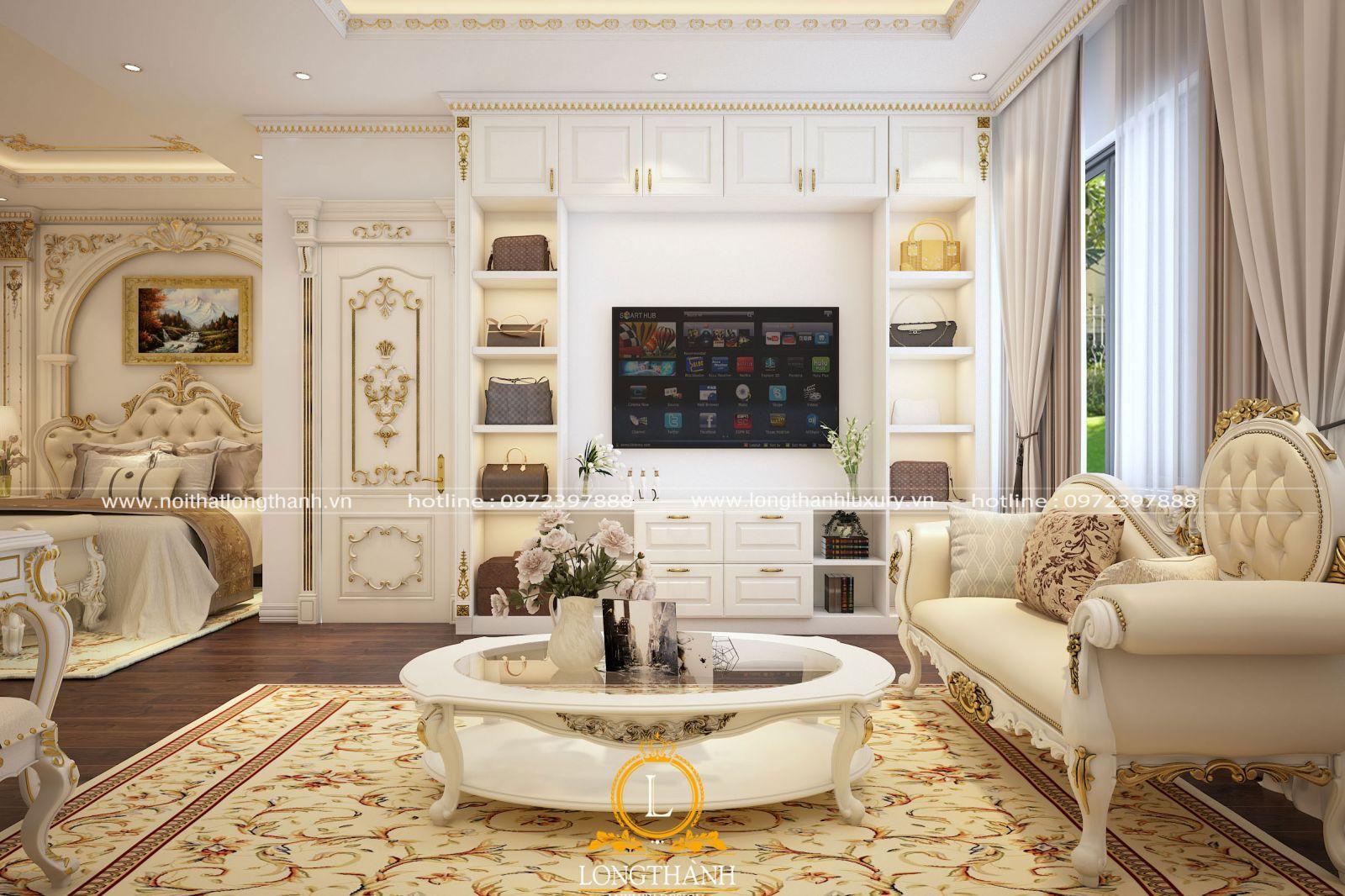 Kệ tivi tân cổ điển mạ vàng kết hợp tủ trưng bày