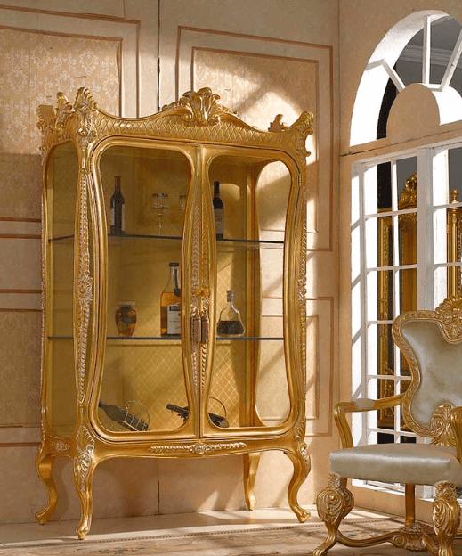 Tủ kệ trang trí mạ vàng trưng bày rượu hoặc để các vật phẩm phong thủy