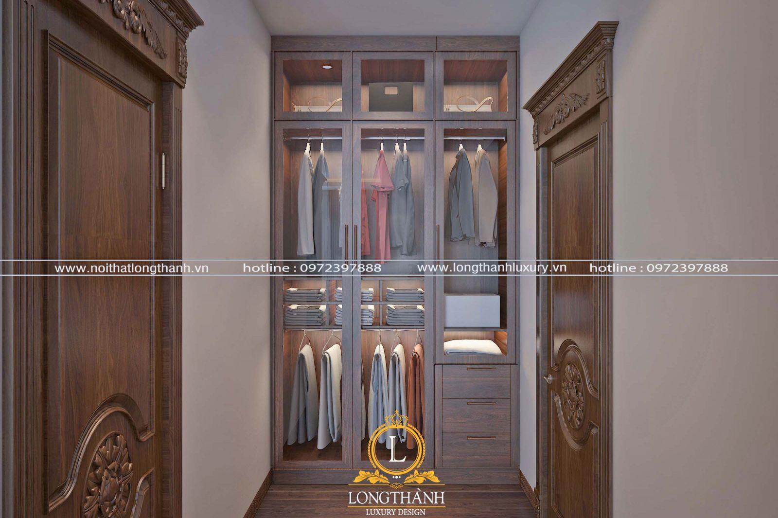 Tủ quần áo âm tường cánh kính cho không gian nhỏ