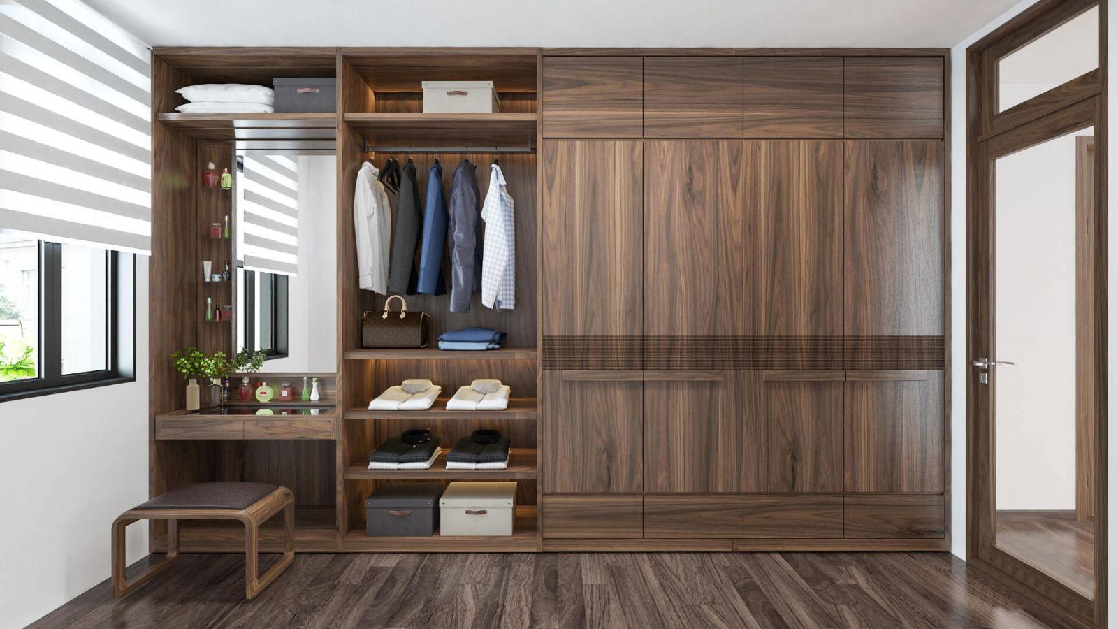 Tủ âm tường gỗ tự nhiên giúp không gian phòng ngủ thêm ấm cúng