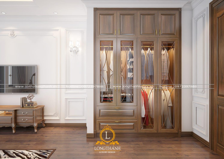 Tủ quần áo gỗ sồi tự nhiên cao cấp