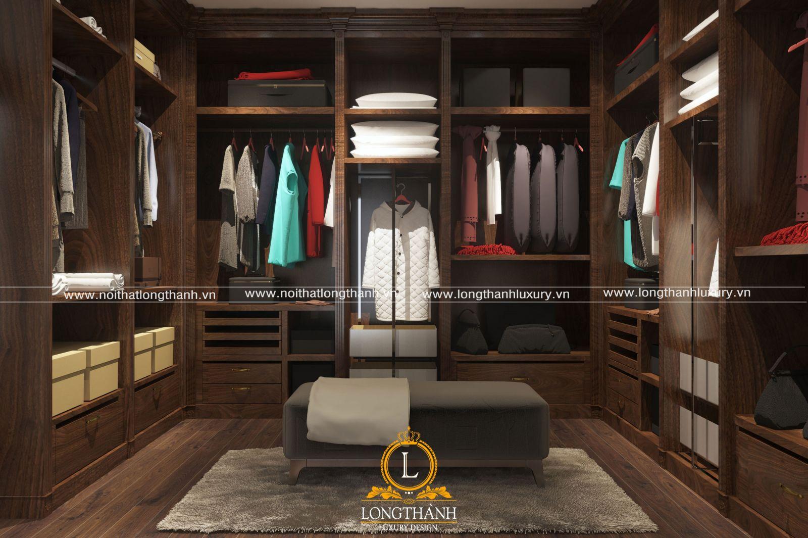 Tủ quần áo gỗ veneer cuốn tiện nghi