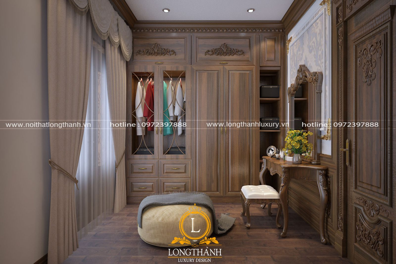 Tủ quần áo tân cổ điển gỗ tự nhiên