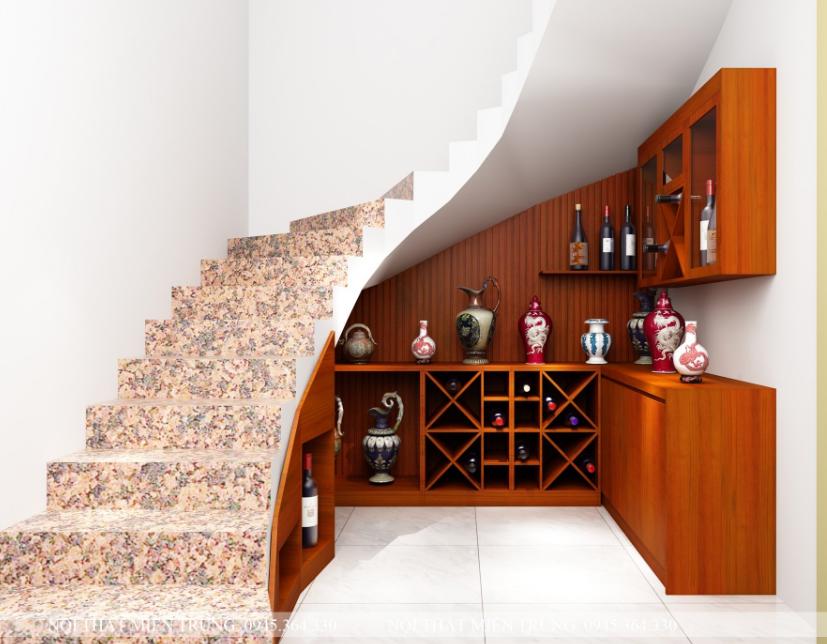 Mẫu tủ rượu gầm cầu thang xoắn