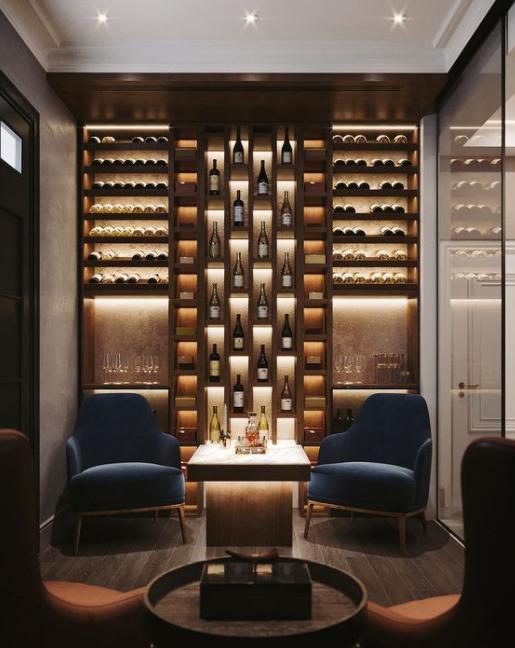 tủ rượu âm tường nhôm kính đẹp nội thất long thành