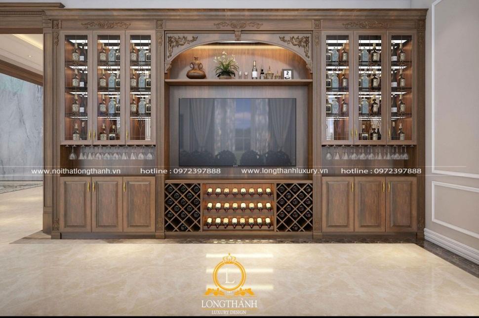 đường nét họa tiết tỉ mỉ, mềm mại của chiếc tủ rượu tân cổ điển