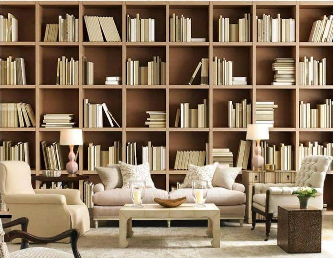 Thiết kế tủ sách trong phòng khách làm từ chất liệu gỗ công nghiệp