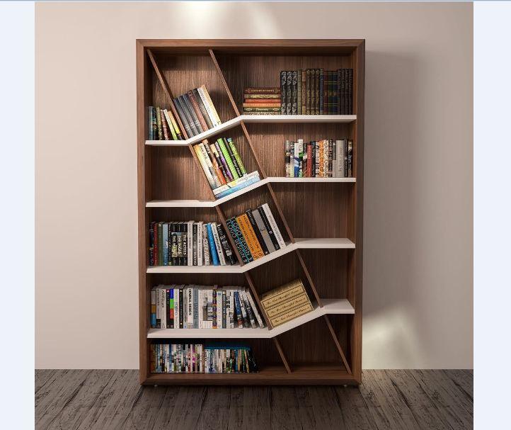 Thiết kế tủ sách theo hình khối lớn tạo nhiều khoang chứa hơn