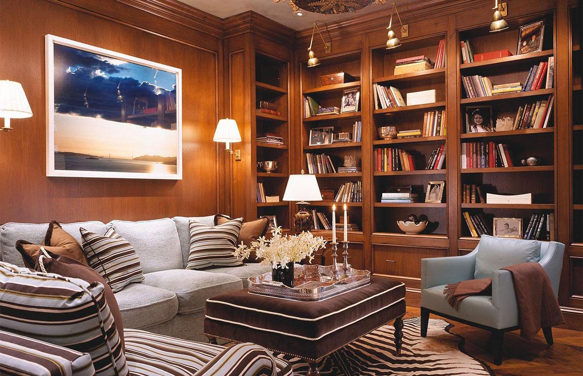 Tủ sách kết hợp nơi phòng khách ấm cúng