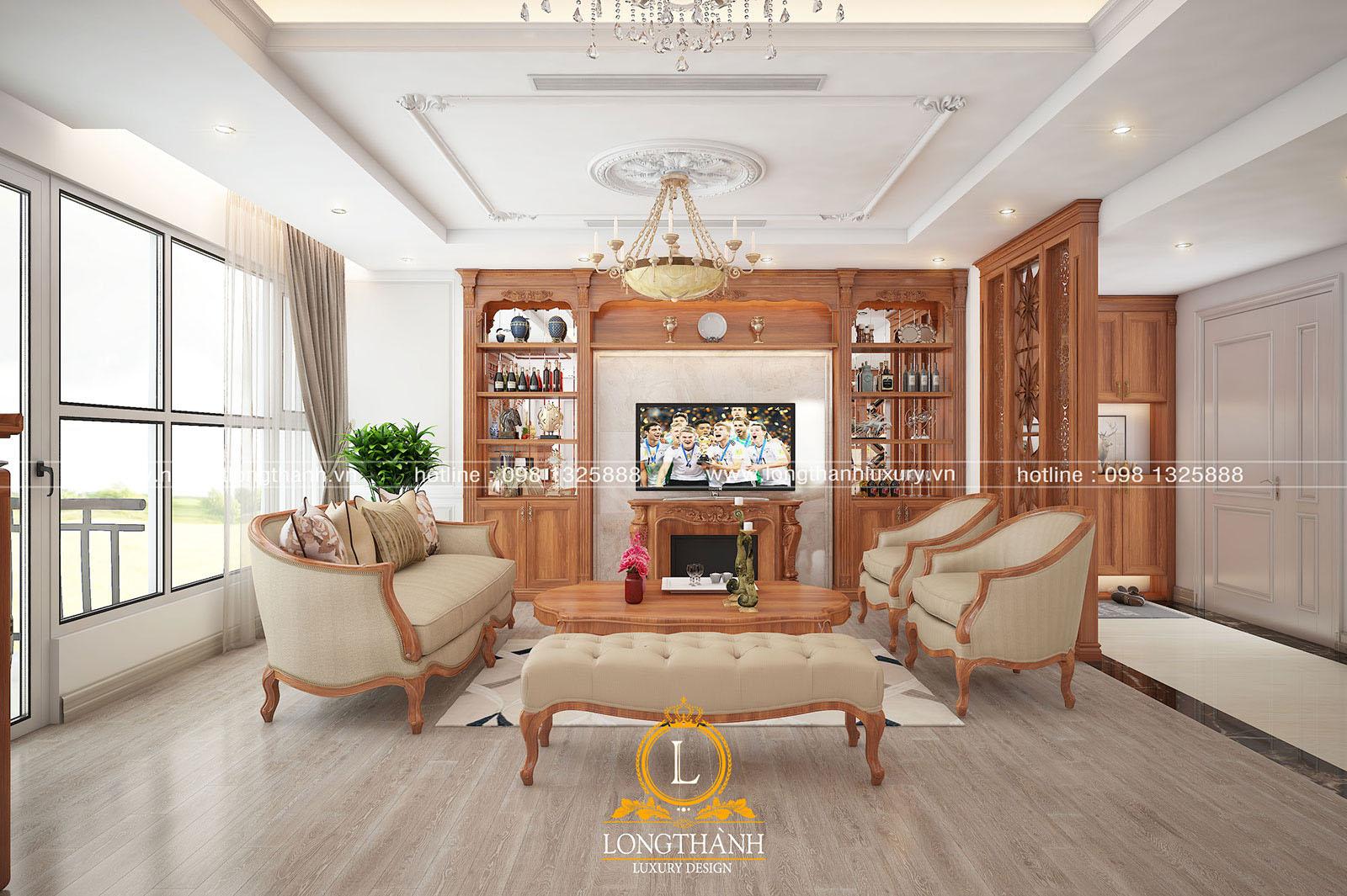 Tủ trang trí đơn giản trong không gian phòng khách tân cổ điển