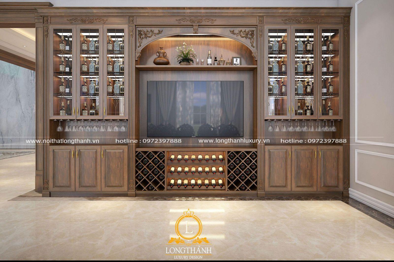 Tủ trang trí kết hợp tủ rượu ấn tượng