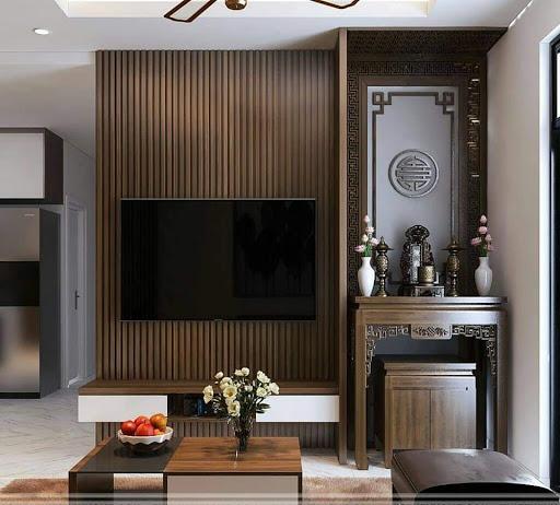 Thiết kế nội thất phòng khách kết hợp phòng thờ đơn giản mà tinh tế
