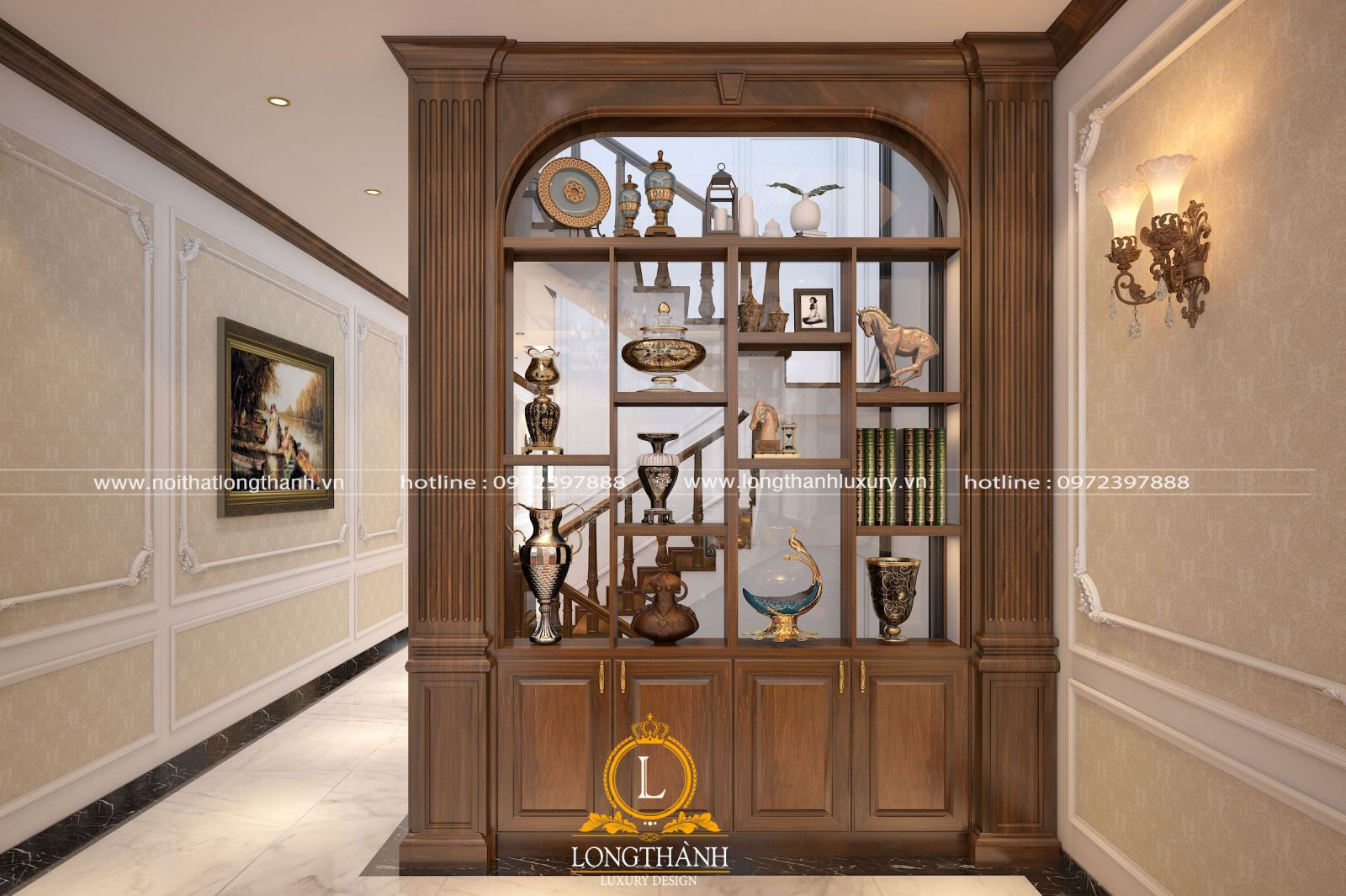 Vách ngăn được thiết kế thành tủ trang trí tiện lợi