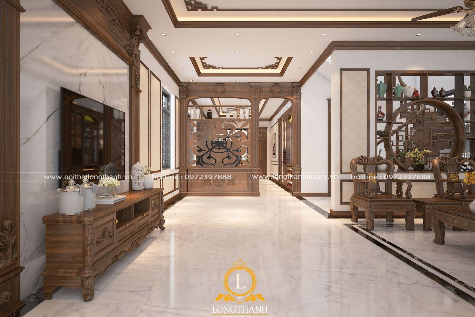 Vách ngăn giữa phòng khách và bếp đẹp