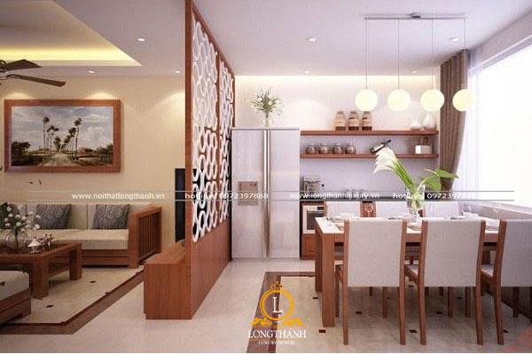 Vách ngăn họa tiết đẹp cho không gian phòng khách liên hoàn bếp ăn