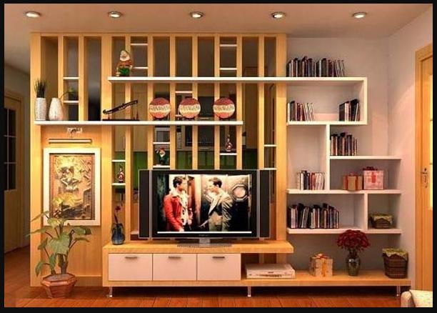 Vách ngăn kết hợp kệ tivi và giá để sách