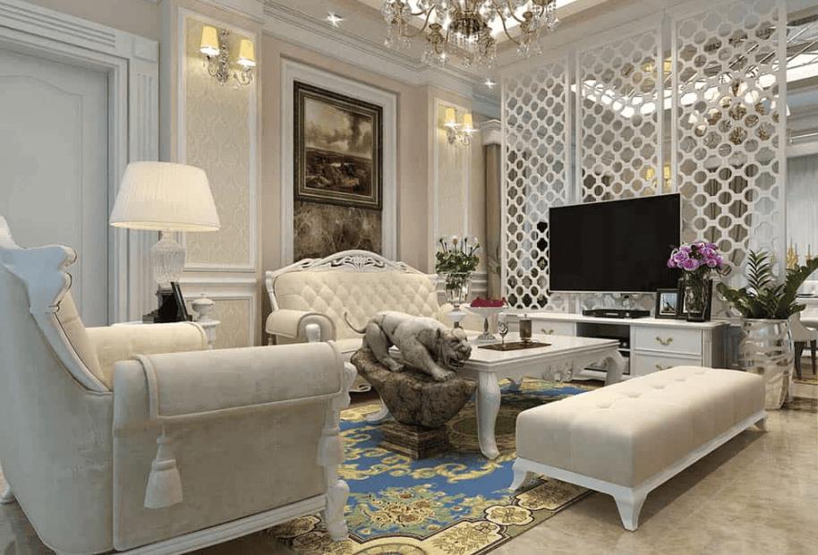 Vách ngăn kết hợp kệ tivi màu trắng phòng khách Tân cổ điển