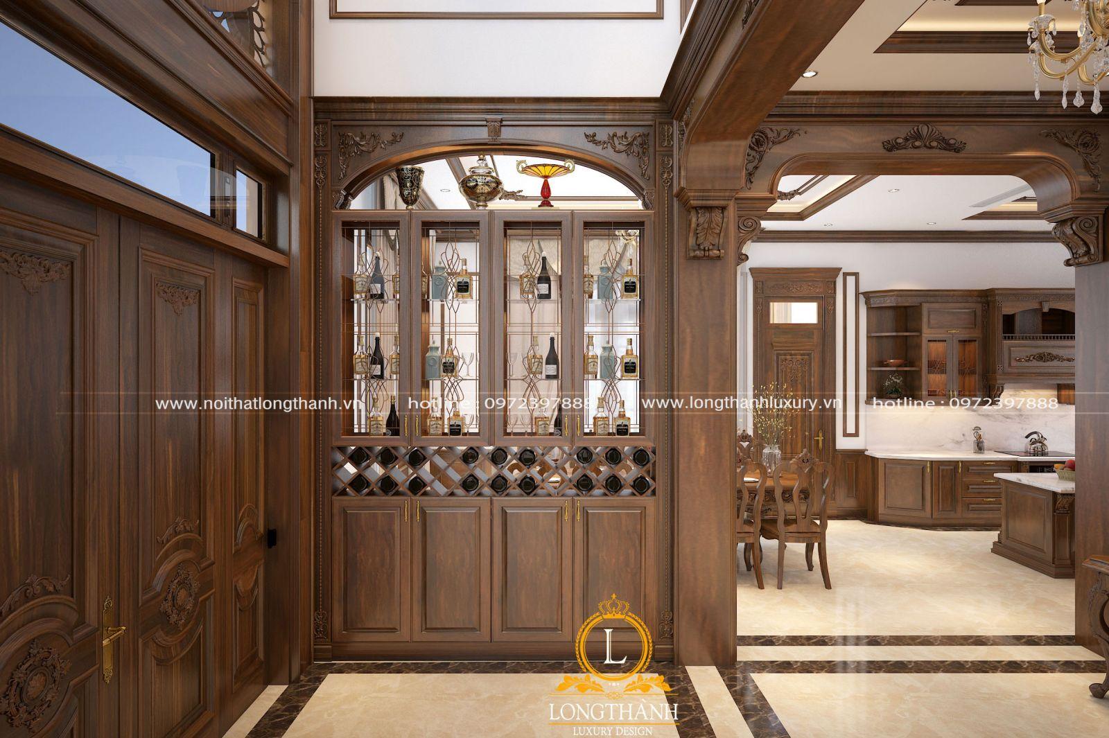 Vách ngăn phòng khách kết hợp tủ rượu sang trọng
