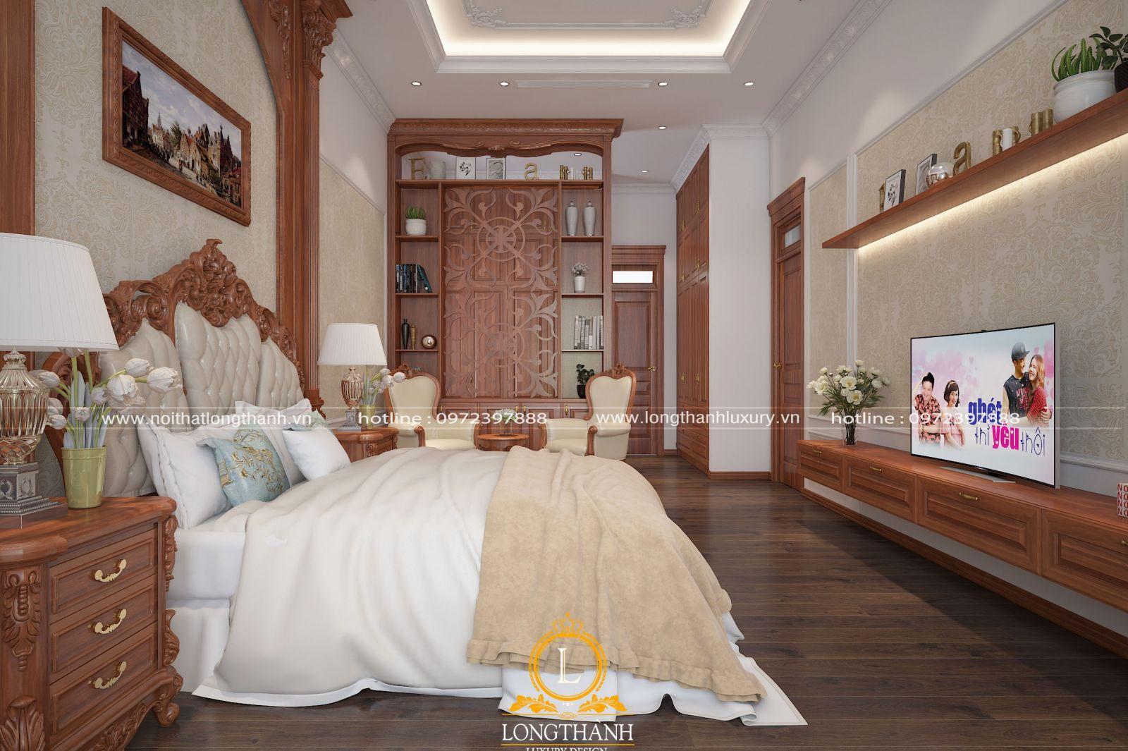 Vách ngăn phòng ngủ đa năng kết hợp tủ trang trí