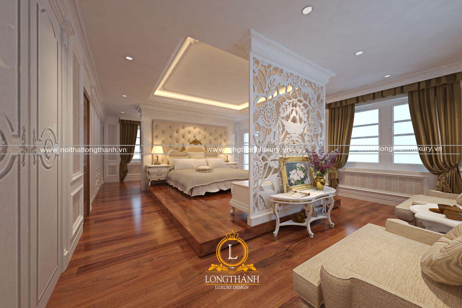 Vách ngăn sơn trắng cho phòng khách và phòng ngủ