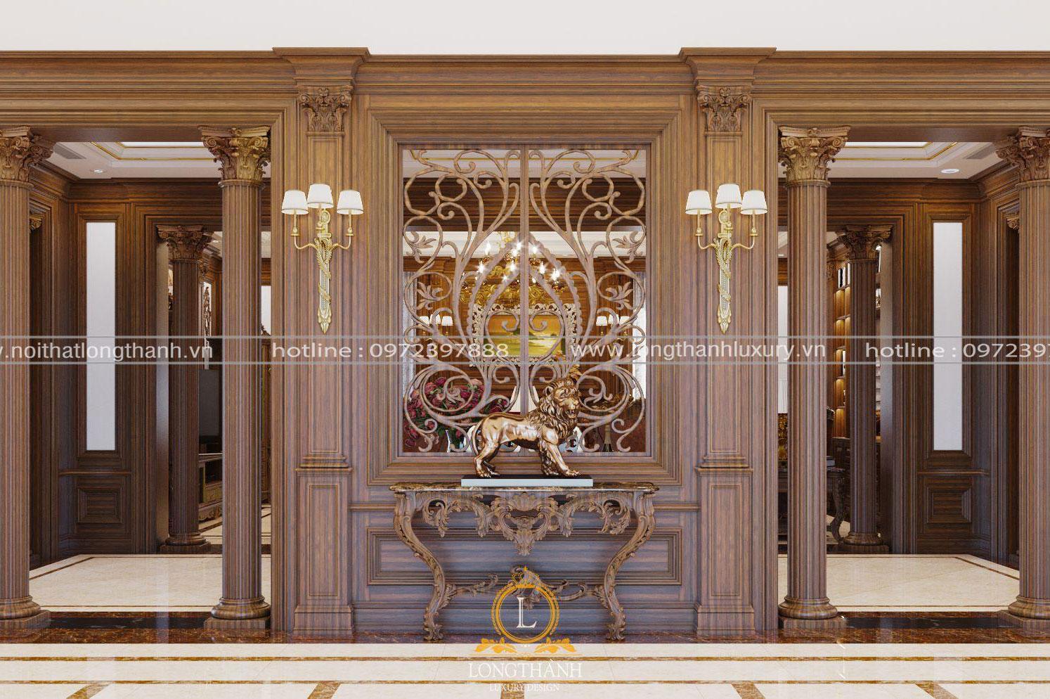 Vách ngăn tân cổ điển nâu gỗ cho không gian phòng khách
