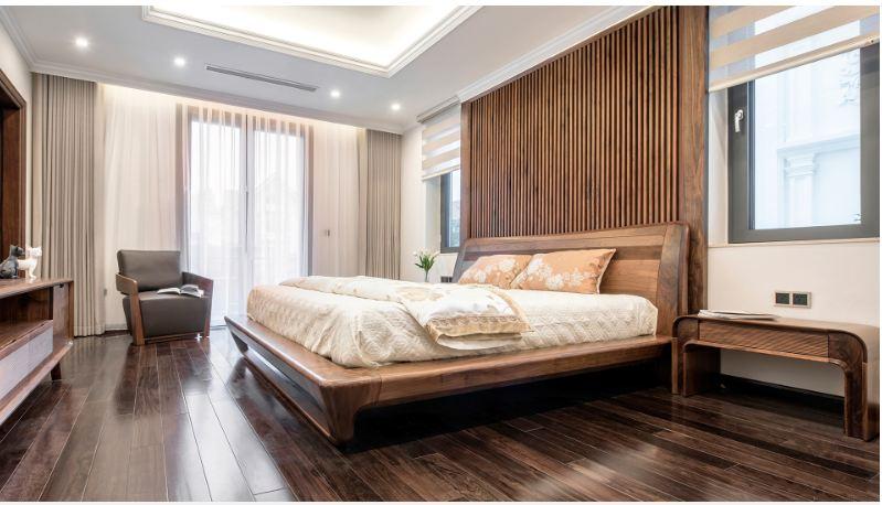 Gỗ Laminate ốp tường phòng ngủ cho không gian thêm sang trọng và tinh tế
