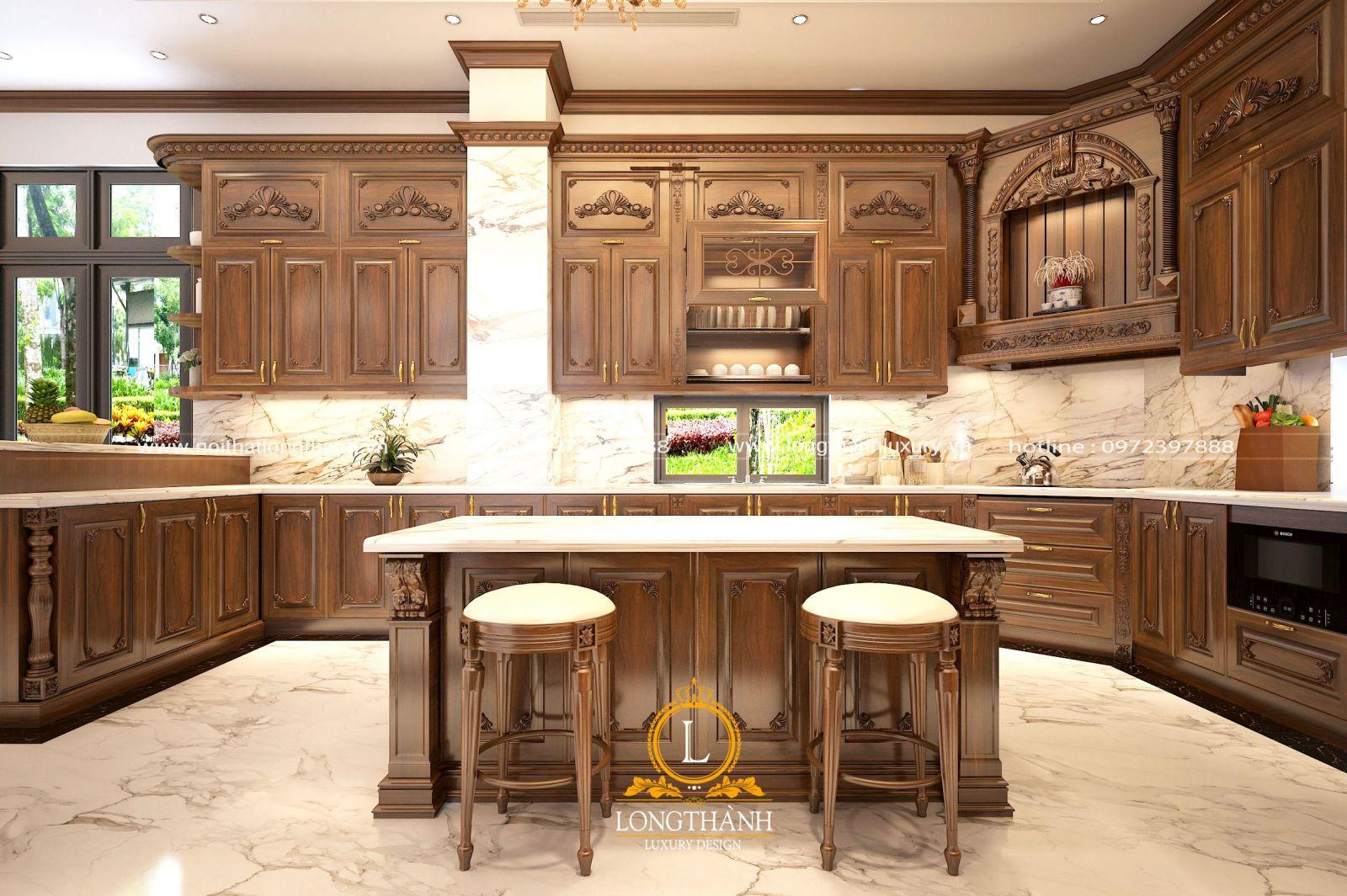 Không gian tủ bếp tân cổ điển gỗ tự nhiên chữ U sang trọng