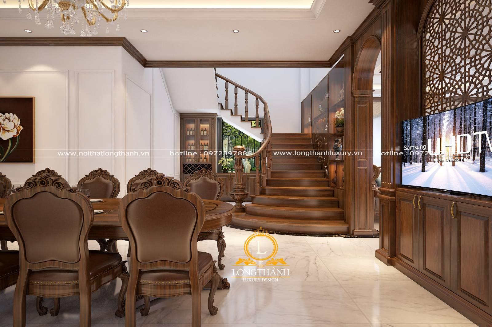 Vẻ đẹp nhẹ nhàng của cầu thang gỗ tân cổ điển biệt thự