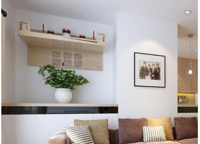 Bàn thờ treo tường hiện đại cùng vị trí đặt trong không gian nhà chung cư