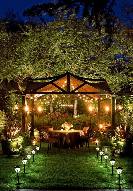 Tiểu cảnh trang trí ngoài trời kết hợp đèn led tạo ấn tượng cho biệt thự vườn hiện đại